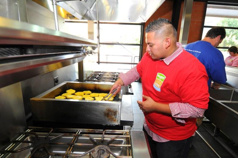 Micahel Mercado cooking pineapples