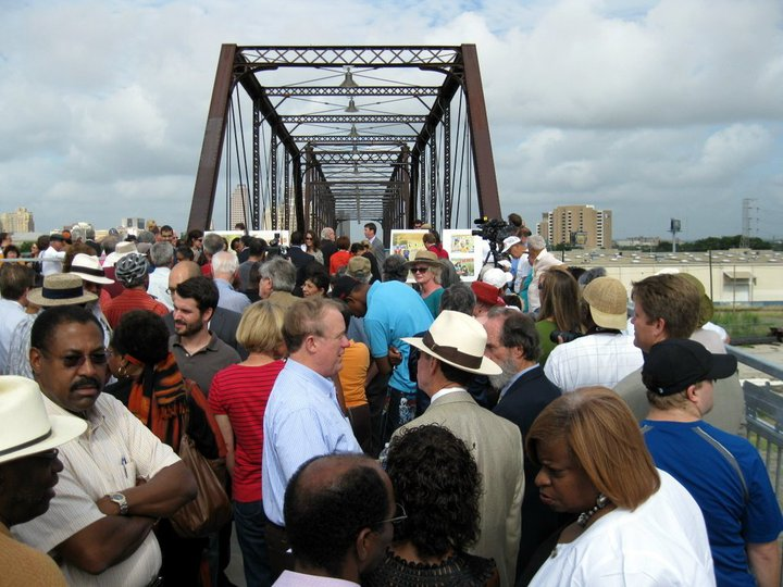 The ribbon cutting and reopening of the Hays Street Bridge drew a crowd in 2010, but today it mostly stands empty.
