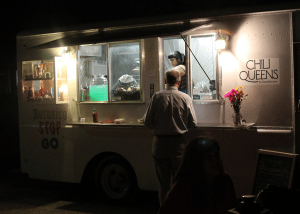 A hungry customer at the Chili Queens food truck.