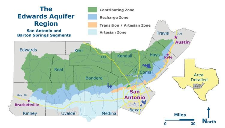 The Edwards Aquifer Recharge Zone.