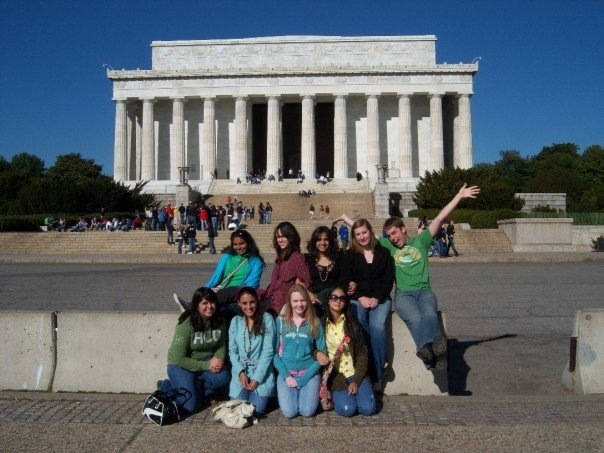 Leezia Dhalla, 17, with Reagan High School's Model United Nations team at a national competition in Washington, D.C.