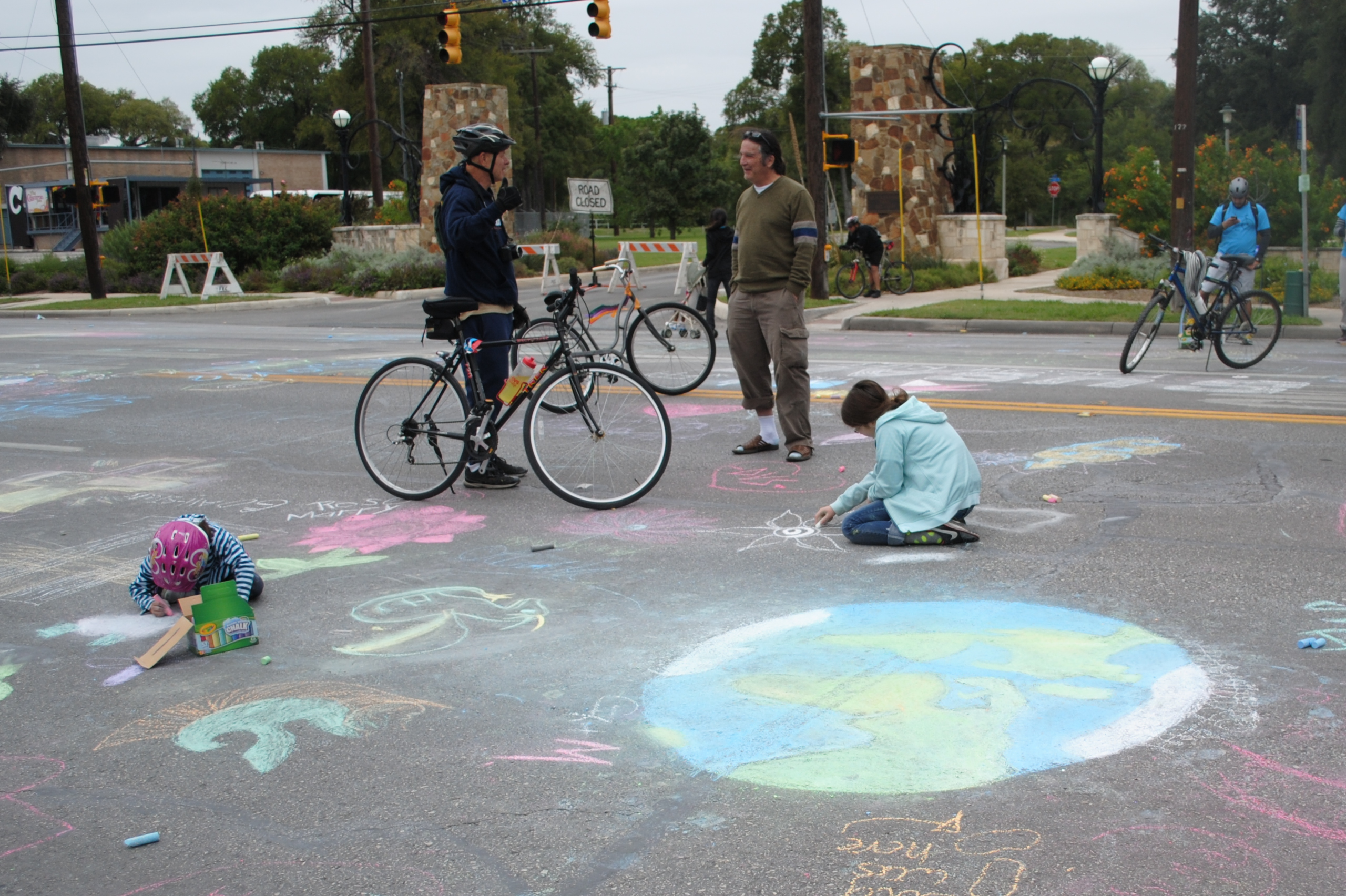 Sidewalk chalk was a very popular activity during Siclovia last year (2012). Kids, artists, and parents decided to have some fun on the rarely closed-off roads. Photo by Alexander Gandara.