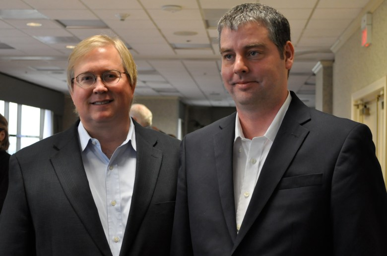 Graham Weston (left), Rackspace chairman, and James Russell, geographer.