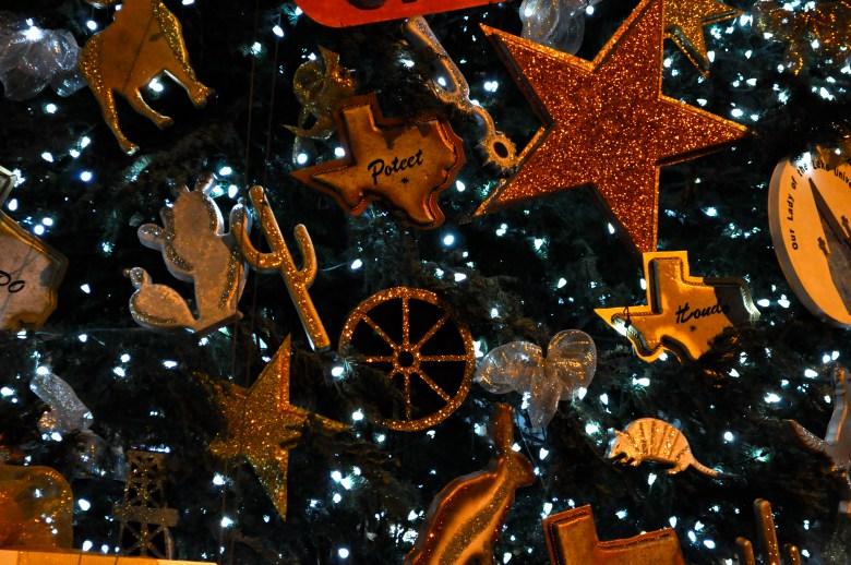 Ornaments on the Alamo Plaza Christmas tree.
