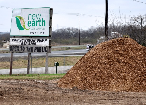 Dozens of dirt and compost piles occupy the 120 acres that make up New Earth, Inc.  --photo by Iris Dimmick