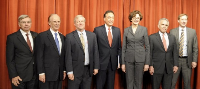 From left: Michael Burke, Director of SA Clean Technology Forum; Judge Nelson Wolff; Jim Marston, Texas State director, Environmental Defense Fund; Henry Cisneros, chairman of the San Antonio Economic Development Foundation; Susan Combs, Texas Comptroller; Robert Rivard, moderator, director of The Rivard Report; Lance Robinson, vice president of Eagle Ford operations for Marathon Oil Corp.