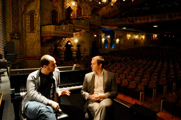Kirill Gerstein and Brent Watkins meet up to talk at the Majestic. Photo by Iris Dimmick.