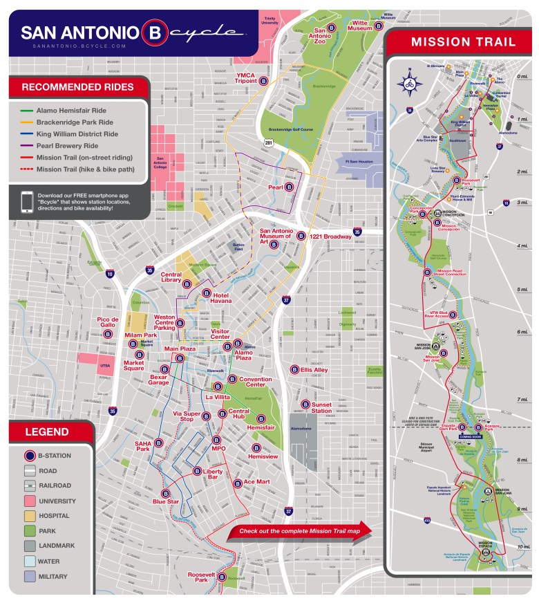 An updated map of B-Cycle stations. Click for enlarged image.
