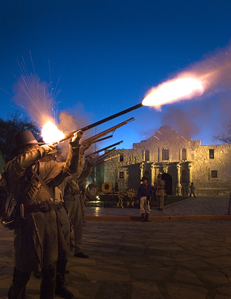From a previous year, Alamo History actors open fire. Photo by Al Rendon.