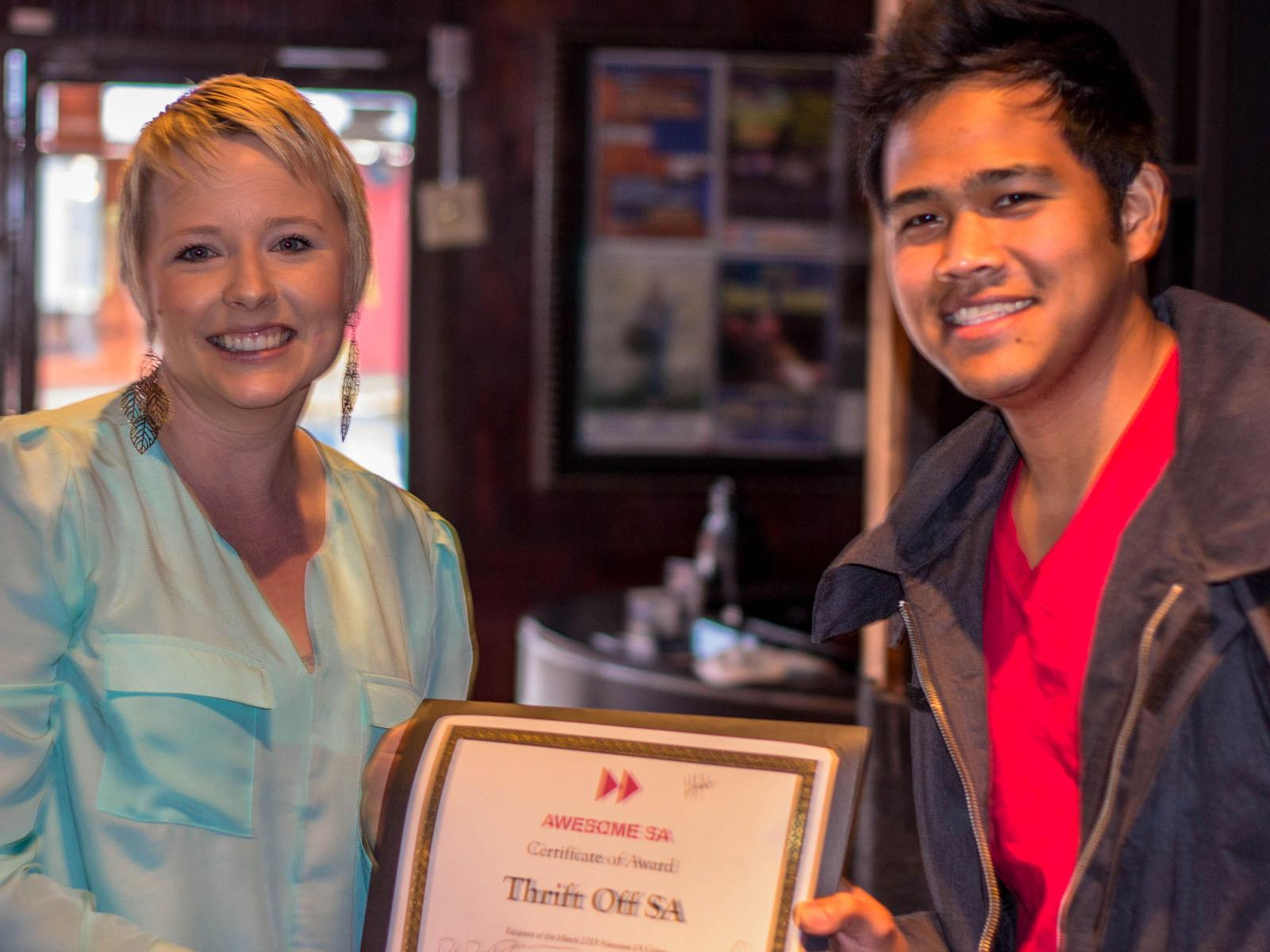 Somer Baburek and _____, receive a $1,000 grant on behalf of the Thrift Off SA project. Photo by Hugh Donagher.
