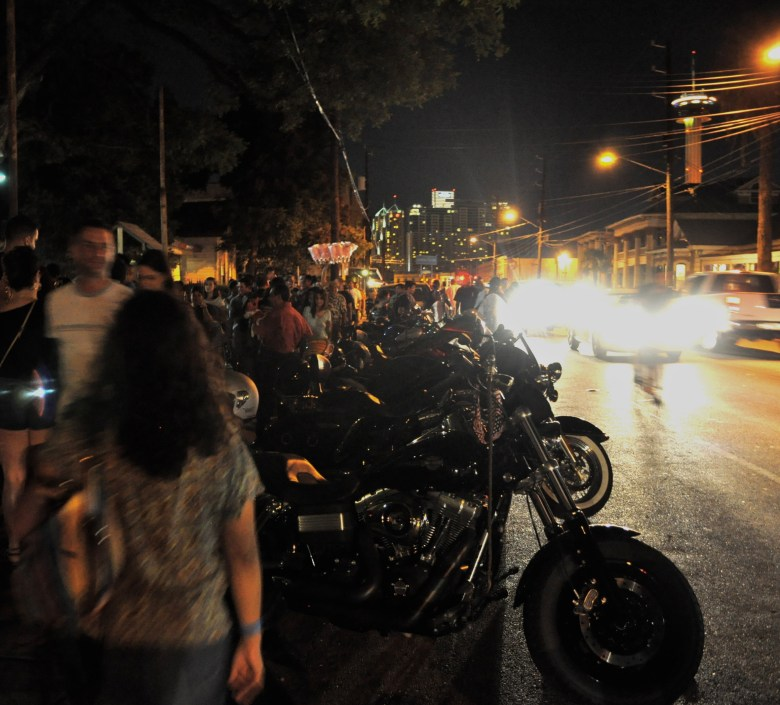 """""""The traffic's too dangerous (in Southtown),"""" Express-News Columnist Roy Bragg wrote. Admittedly, traffic can be rough during some downtown festivals and events – like the First Friday scene captured here. Usually, traffic is slow and mild down South Alamo Street. Photo by Iris Dimmick."""