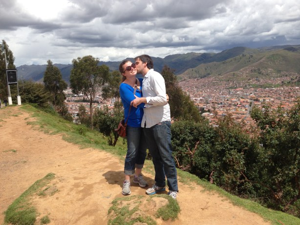 A kiss in Peru with my husband, Lewis McNeel.