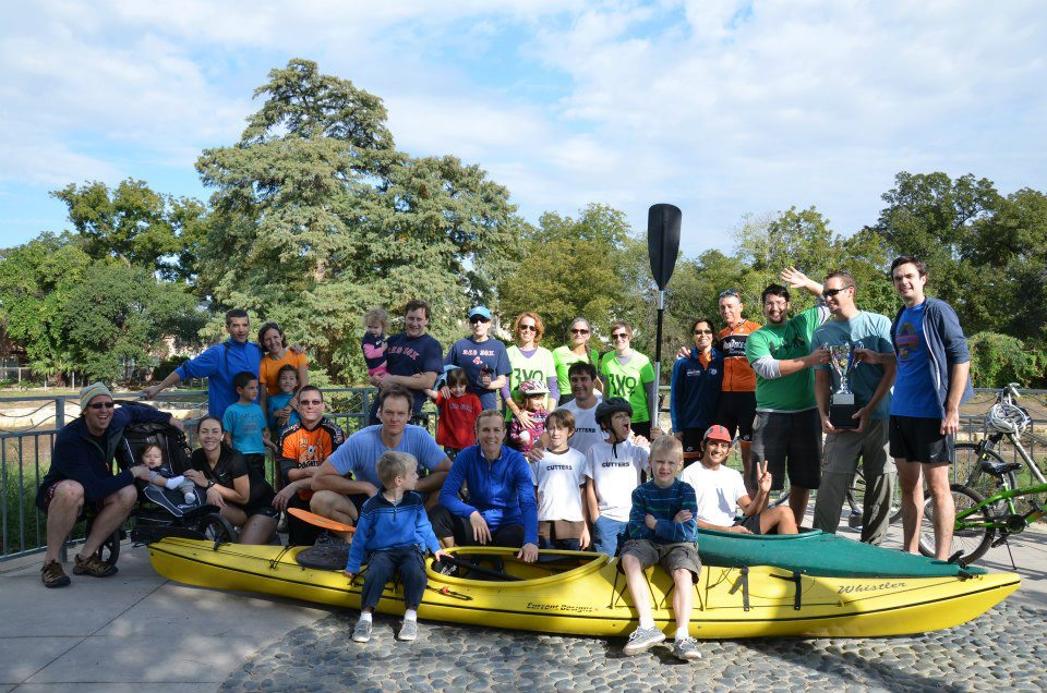 Southtowners revel after completing the first King William Triple Crown paddle/run/bike, a guerilla sporting event conceived, promoted and hosted by Michael Taylor. Photo by Angela Martinez