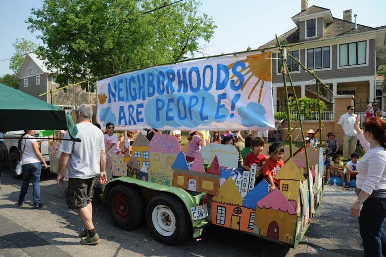 "The Circle School's ""Neighborhoods are People"" float for the 2012 King William Fair parade was built in the Southtown workshop of Katie Pell and Peter Zubiate. Many current Bonham Academy students are former Circle Schoolers. Photo by Peter French"