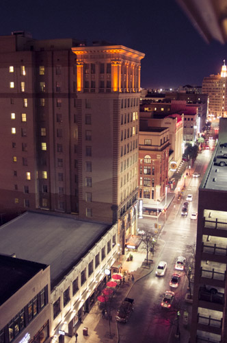 View from the Majestic Tower Apt, looking East down Houston Street. Photo by Kara Gomez.