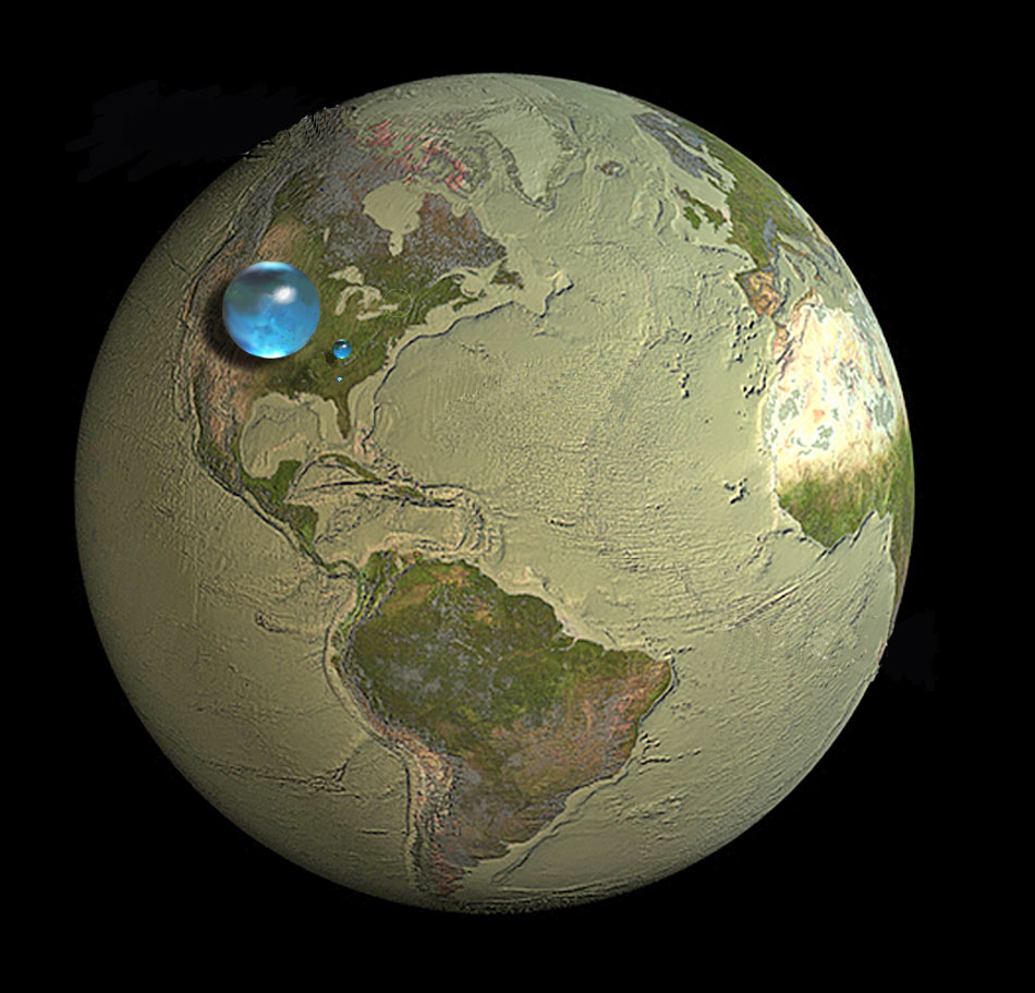 The largest sphere represents all of Earth's water, and its diameter is about 860 miles (the distance from Salt Lake City, Utah, to Topeka, Kansas). It would have a volume of about 332,500,000 cubic miles (mi3) (1,386,000,000 cubic kilometers (km3)). The sphere includes all the water in the oceans, ice caps, lakes, and rivers, as well as groundwater, atmospheric water, and even the water in you, your dog, and your tomato plant. How much of the total water is fresh water, which people and many other life forms need to survive? The blue sphere over Kentucky represents the world's liquid fresh water (groundwater, lakes, swamp water, and rivers). The volume comes to about 2,551,100 mi3 (10,633,450 km3), of which 99 percent is groundwater, much of which is not accessible to humans. The diameter of this sphere is about 169.5 miles (272.8 kilometers). Image from USGS public domain