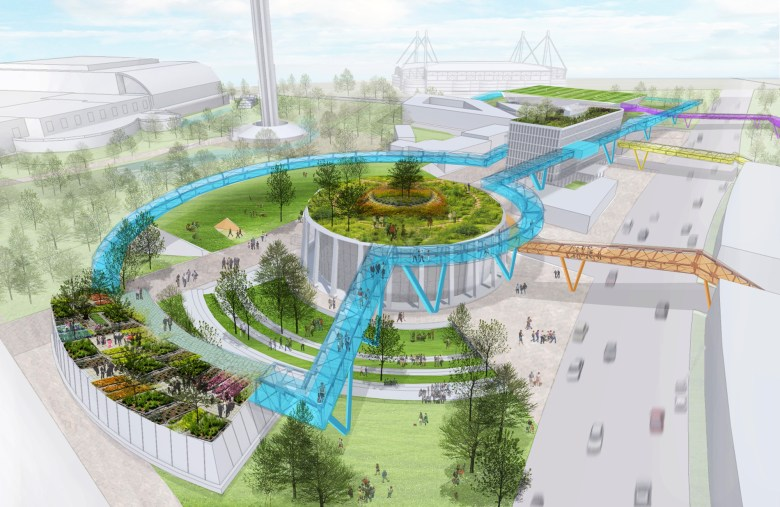 The design proposed the creation of an elevated promenade to provide an alternate experience of Hemisfair Park. rendering courtesy Erica Goranson