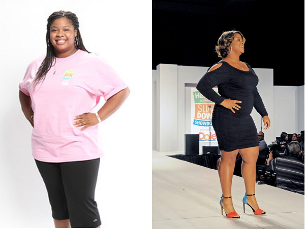 Before and after photographs of Brittany Ward, a graduate student in occupational therapy at the University of Texas Health Science Center at San Antonio. Ward won the $10,000 grand prize in the 2013 H-E-B Slim Down Showdown. Photos courtesy of H-E-B.