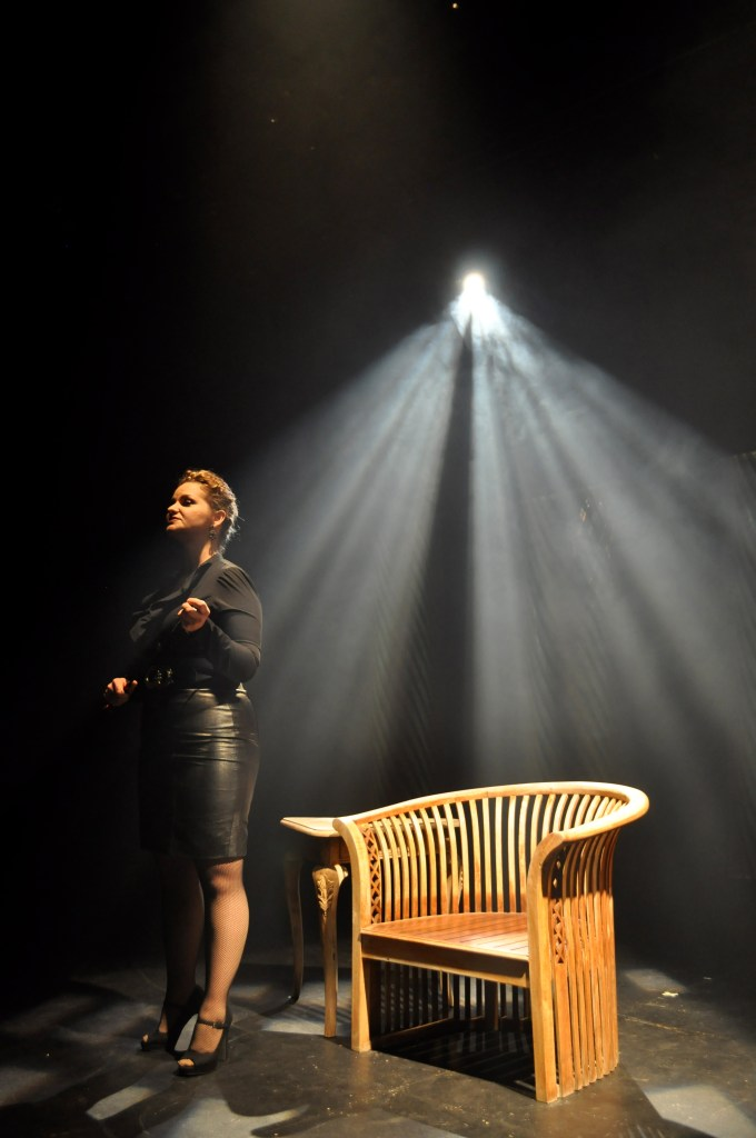 "The dominatrix, portrayed by Brandyn Miller, tells a prospective client about the services she provides and why in Dietrich's ""Hetaerae"" at Jump-Start Performance Theater. Photo by Iris Dimmick."