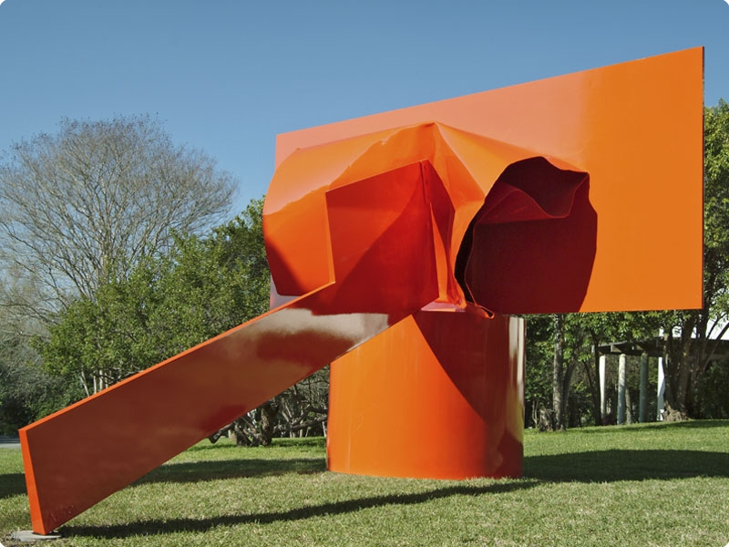 """Sculptor Alexander Liberman's """"Ascent"""" (1970). One of five of Liberman's large metal sculptures that incorporate a crushed element. Painted steel, 16 x 20 x 25 ft. Collection of the McNay Art Museum purchase with the Russell Hill Rogers Fund for the Arts 2005.1 © Liberman Art Partners 2011. Photo courtesy of the McNay."""