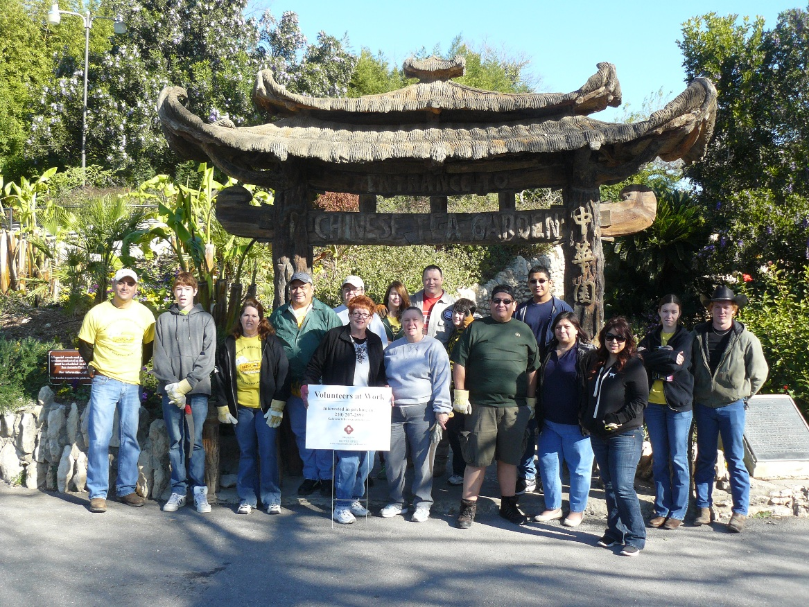 The Zachery Construction Corporation volunteer group poses for a photo during a day of hard work at the Japanese Tea Garden. Photo courtesy of Parks and Recreation, City of San Antonio.
