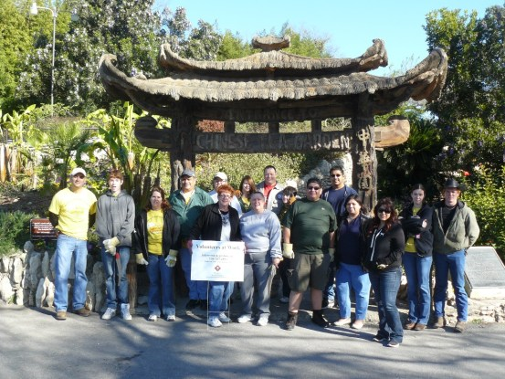 The Zachry Construction Corporation volunteer group  poses for a photo during a day of hard work at the Japanese Tea Garden. Photo courtesy of Parks and Recreation, City of San Antonio.