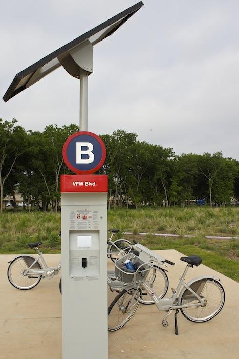 Mission Reach B-cycle rack.