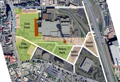A rendering of Hemisfair's possible future. Image courtesy of Hemisfair Park/City of San Antonio.