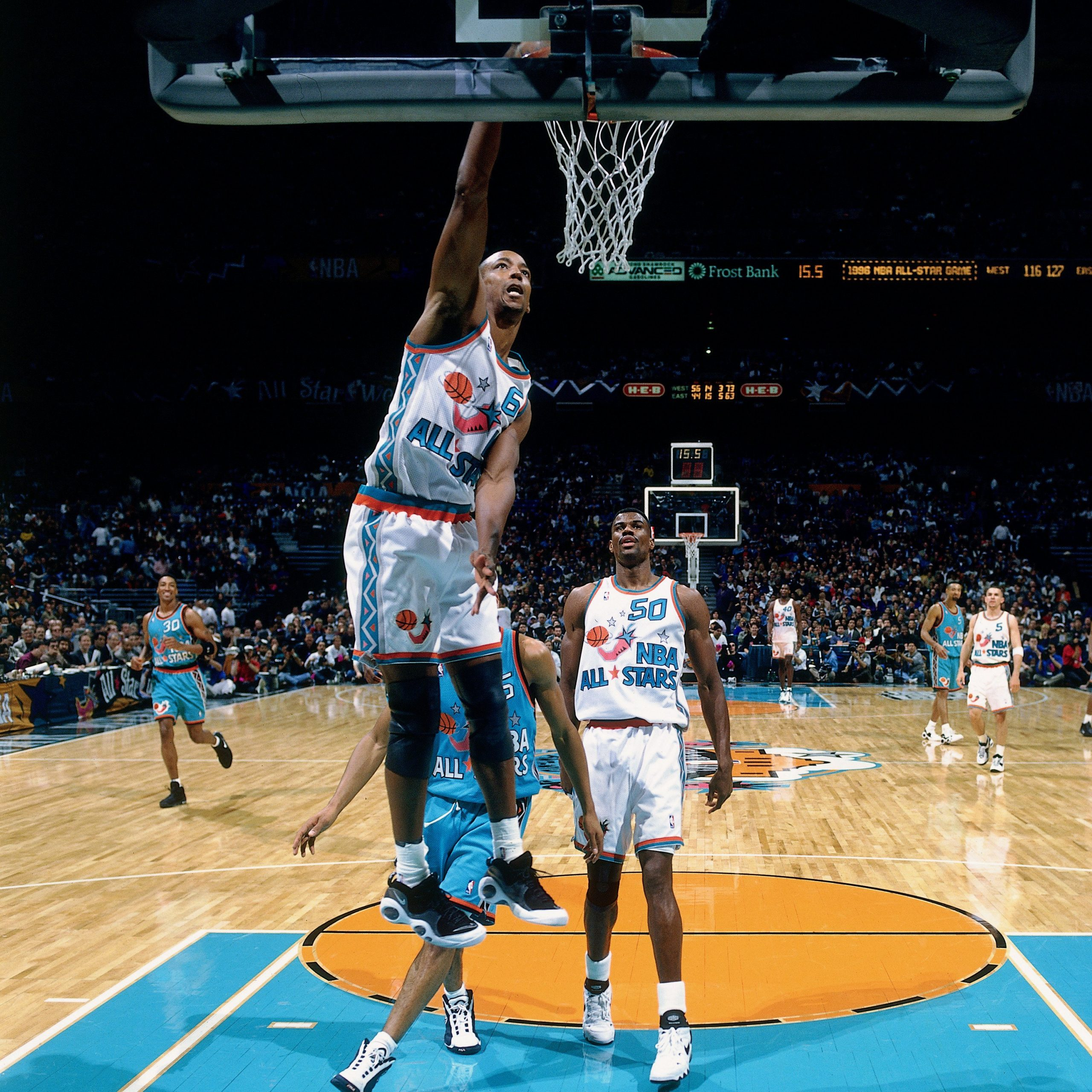 Sean Elliott, #6 of the Western Conference All Stars, dunks against the Eastern Conference during the 1996 NBA All Star Game at the Alamodome. Photo courtesy of San Antonio Spurs.
