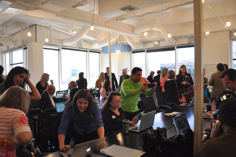 A new city tourism website is unveiled at Geekdom, a collaborative technological workspace. Photo by Iris Dimmick