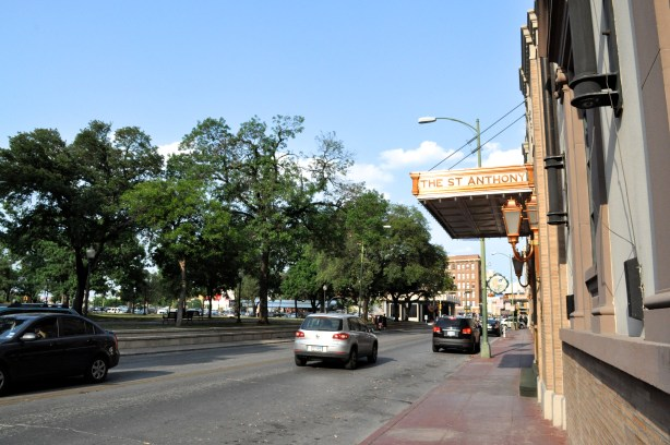 Travis Park as seen from the corner of Pecan and Navarro Streets. Photo by Iris Dimmick.