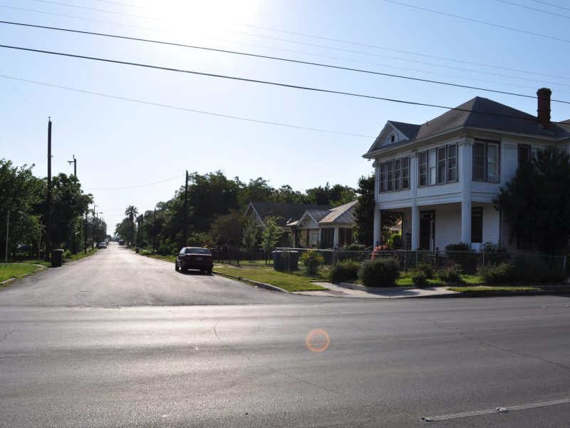 Former farm and dairy land, looking Northwest at the contemporary 900 block of South New Braunfels Street. Photo by Iris Dimmick.
