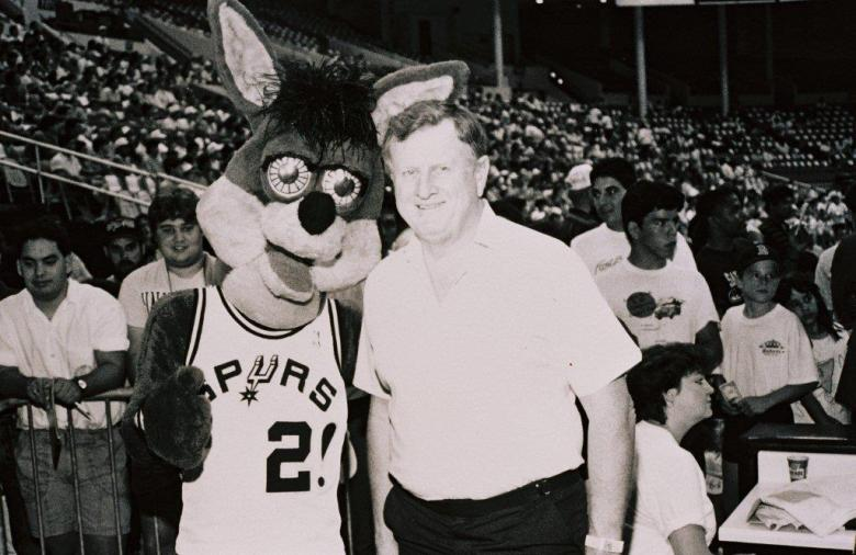 Spurs owner Red McCombs with team mascot The Coyote. Photo courtesy of Red McCombs