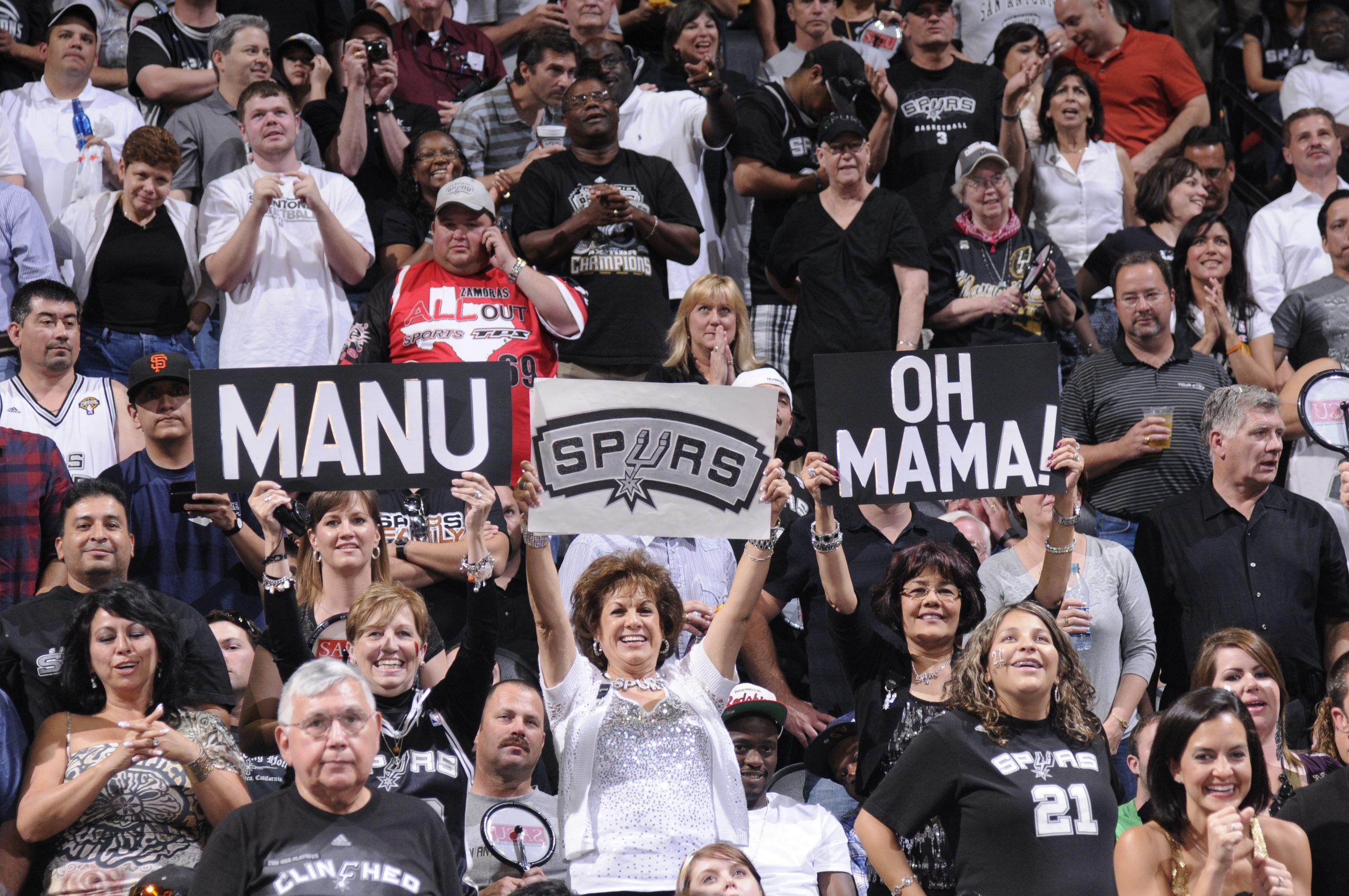 The crowd rallies during Memphis Grizzlies v San Antonio Spurs, game two of the Western Conference Quarterfinals in the 2011 NBA Playoffs at the AT&T Center. Photo courtesy of San Antonio Spurs.