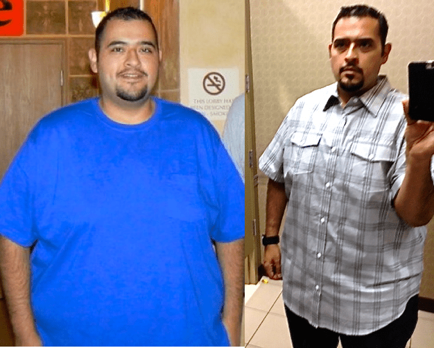 Ramirez went from wearing 4XL (left) clothing before the H-E-B Slim Down Showdown to 2XL clothing in May and is now well on his way to single digit sizes.