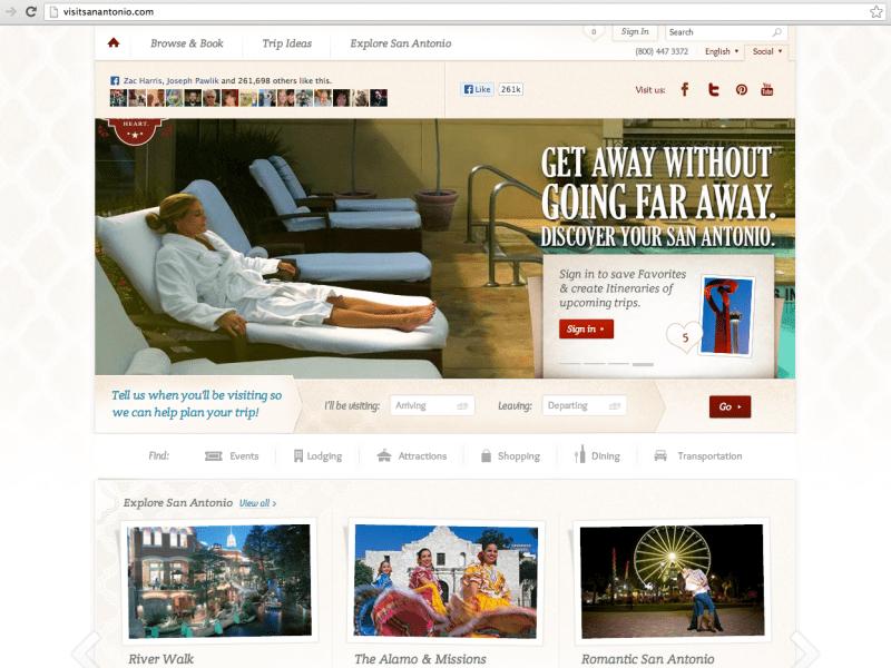 Screen shot of visitsanantonio.com