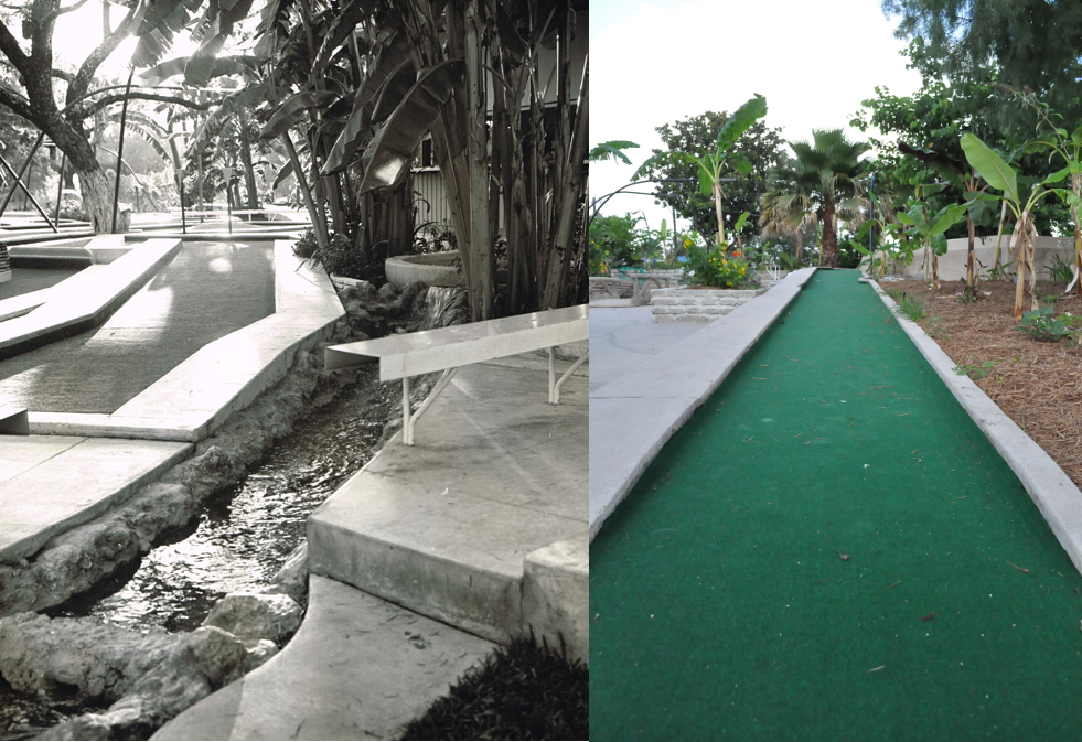 Cool Crest mini-golf course before and after more than 50 years. Courtesy of the Metzger Estate / Annette Crawford.