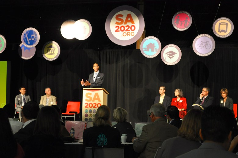 SA2020 CEO Darryl Byrd adresses a crowd of more than 200 invited guests at Rackspace during the SA2020 Indicator Report conference and release. Photo by Iris Dimmick.