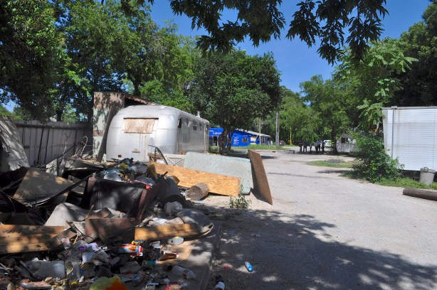 A pile of trash awaits removal at the former Rolling Home Trailer Courts on Roosevelt Avenue. Photo by Iris Dimmick.