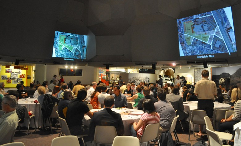 Attendees discuss ideas on how to make Civic Park, the largest area of green space in Hemisfair, unique and accessible to locals and tourists alike. Photo by Iris Dimmick.