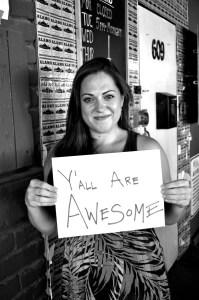 Sarah Brooke Lyons celebrates her $1,000 Awesome SA grant at Alamo Street Eat Bar. Photo by Iris Dimmick.