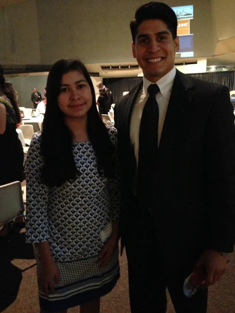 Maria Sierra and District 4 Councilman Rey Saldaña