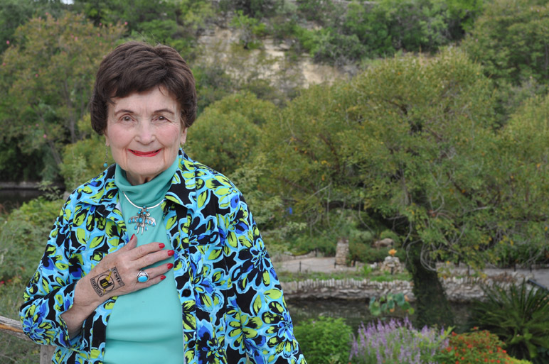"""Former San Antonio Mayor Lila Cockrell wears her temporary """"Power of Preservation"""" tattoo in front of her beloved Japanese Tea Gardens. Photo by Annette Crawford."""