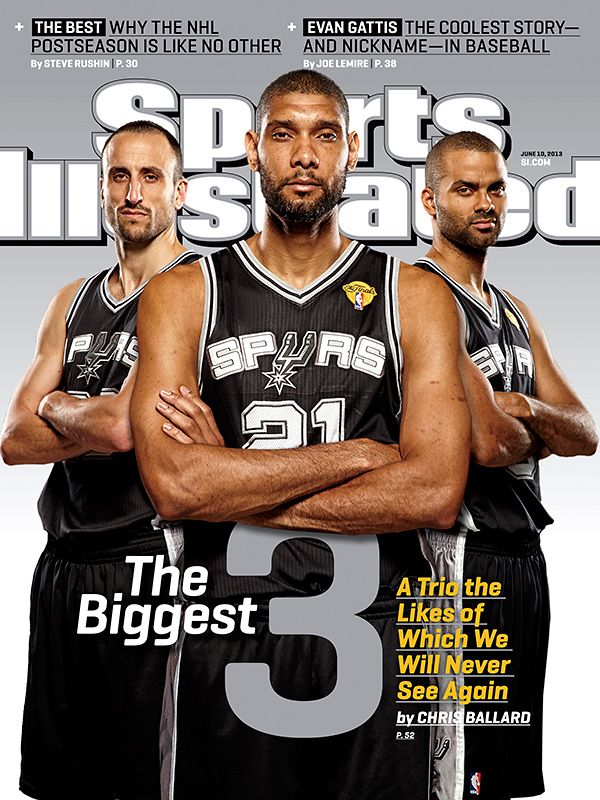 Houston photographer Robert Seale's cover shot of Tim, Tony and Manu. Image courtesy of Sports Illustrated and Robert Seale.