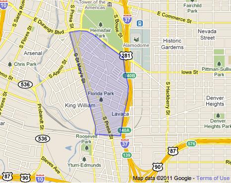The Lavaca Neighborhood boundaries according to the LNA's website.