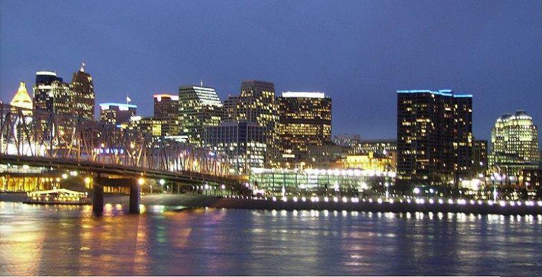 Cincinnati skyline at dusk. Public domain photo.