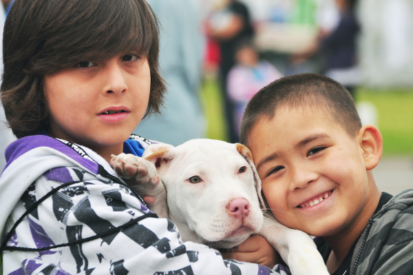 BITP 2012, Bark in the Park/Perrito Grito event March 24, 2012.  A brother and sister and their puppy.