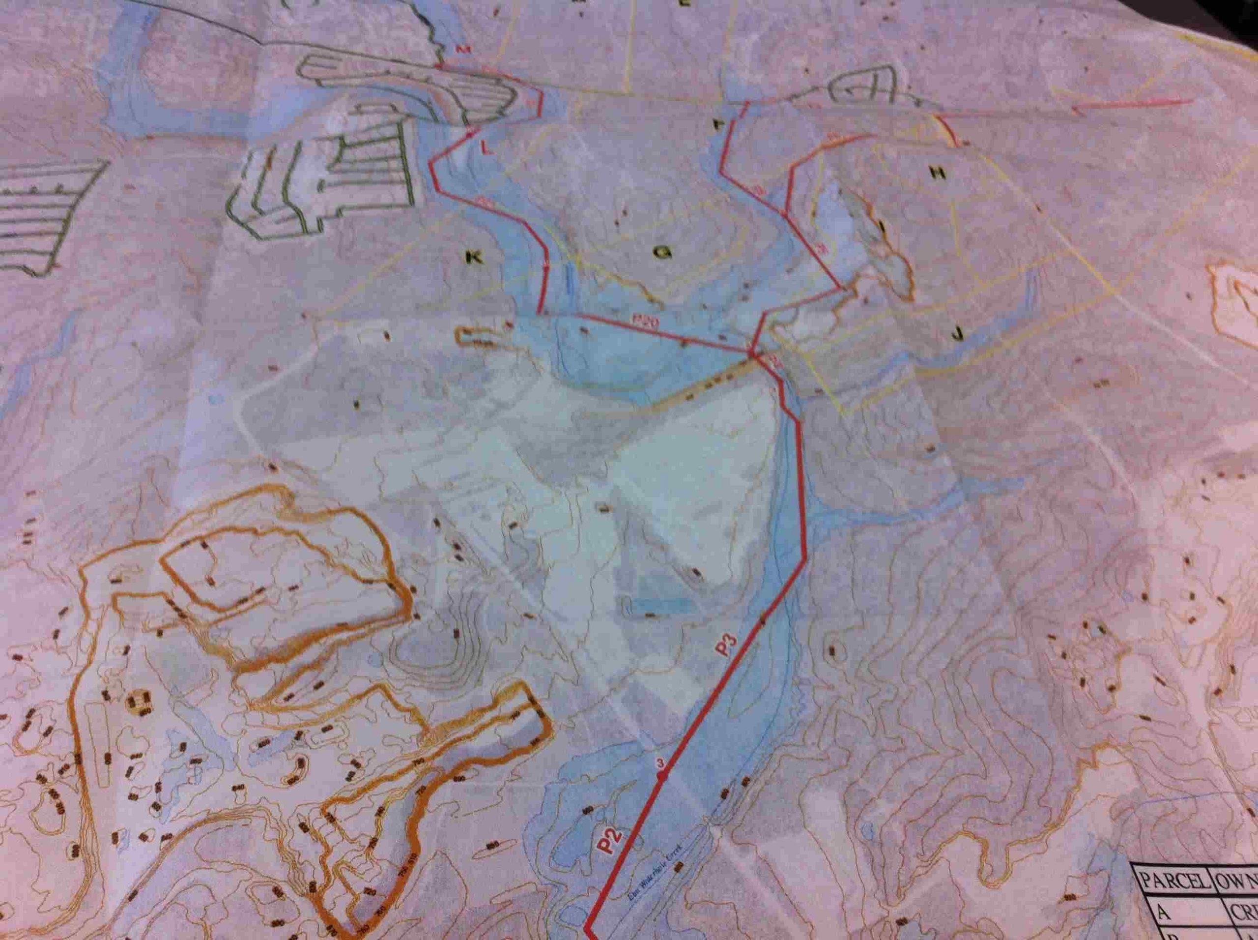 Sewer line in Elm Hole Creek (in red) proposed to serve Crescent Hills. Photo of SAWS map courtesy of GEAA.