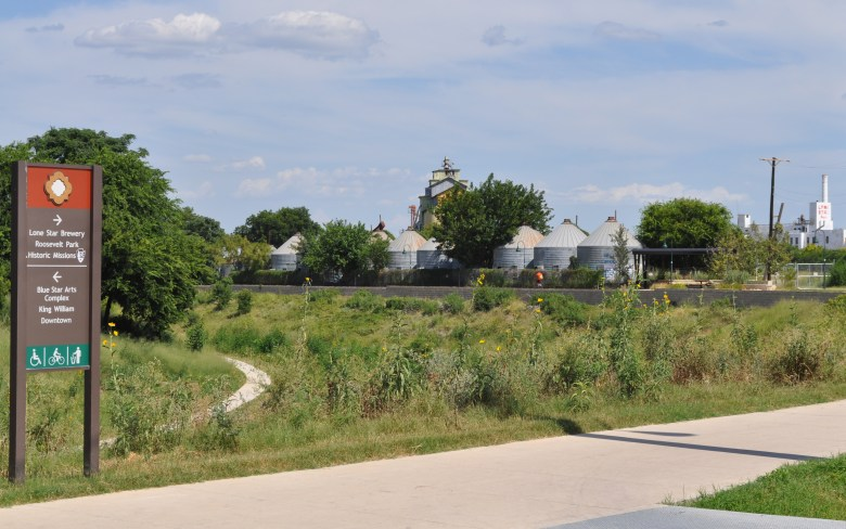 An Eagleland Reach access point at Blue Star – abandoned silos and Lone Star Brewery just beyond. Photo by Iris Dimmick.