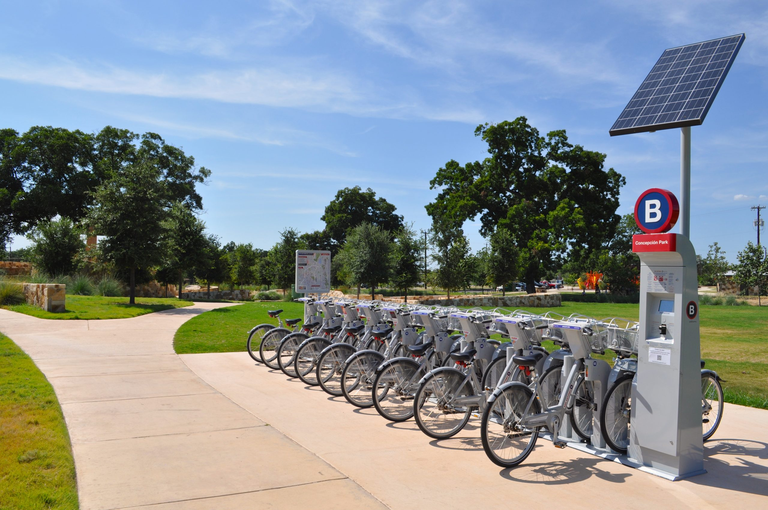 Concepción Park's b-cycle rack – soaking up solar energy, ready for business. Photo by Iris Dimmick.
